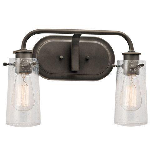 "Kichler Braelyn 2 Light 15"" Wide Vanity Light Bathroom Fixture with Seedy Glass Shades - Olde Bronze"