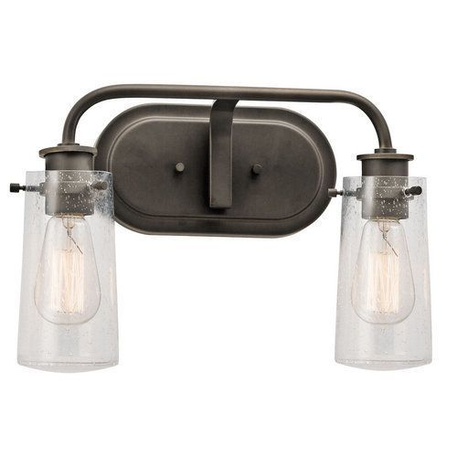 "Kichler Braelyn 2 Light 15"" Wide Vanity Light Bathroom Fixture with Seedy Glass Shades - Olde Bronze"