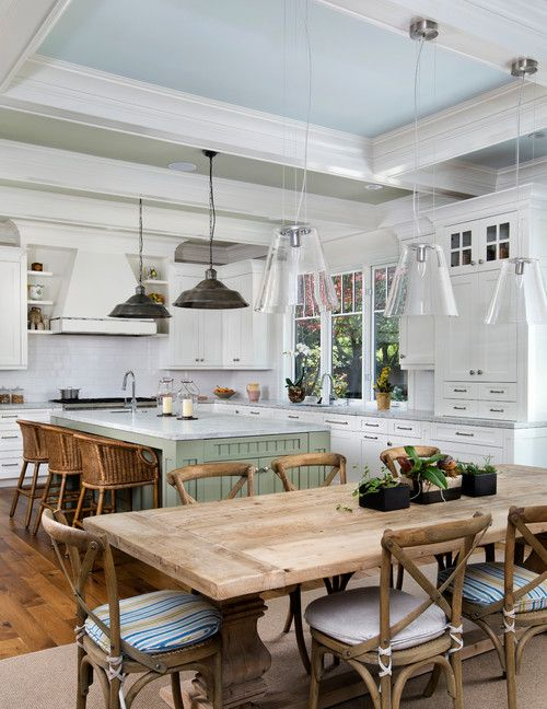 Open kitchen with island and dining table
