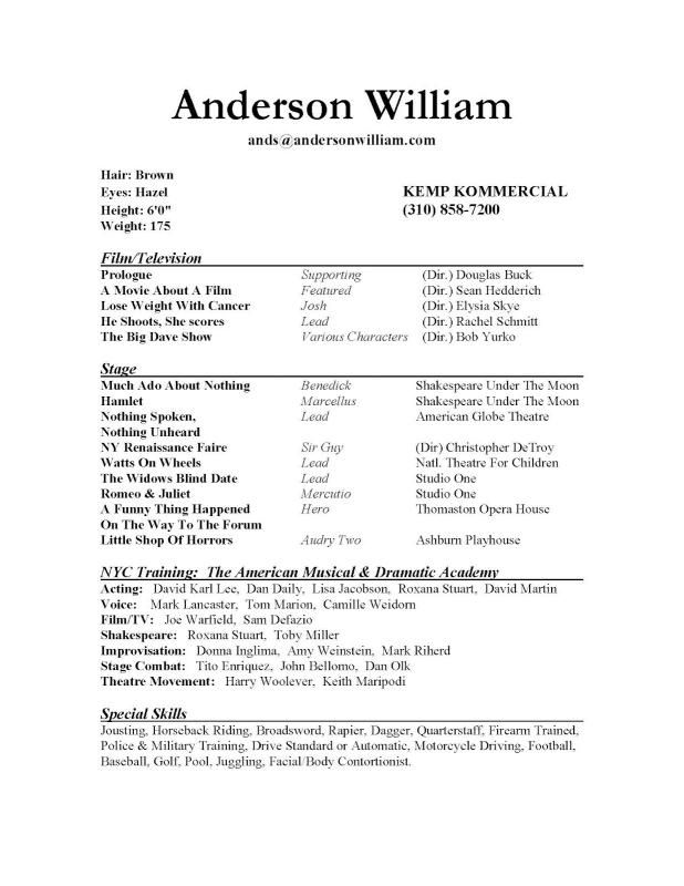Sample Acting Resume template Pinterest Acting resume template