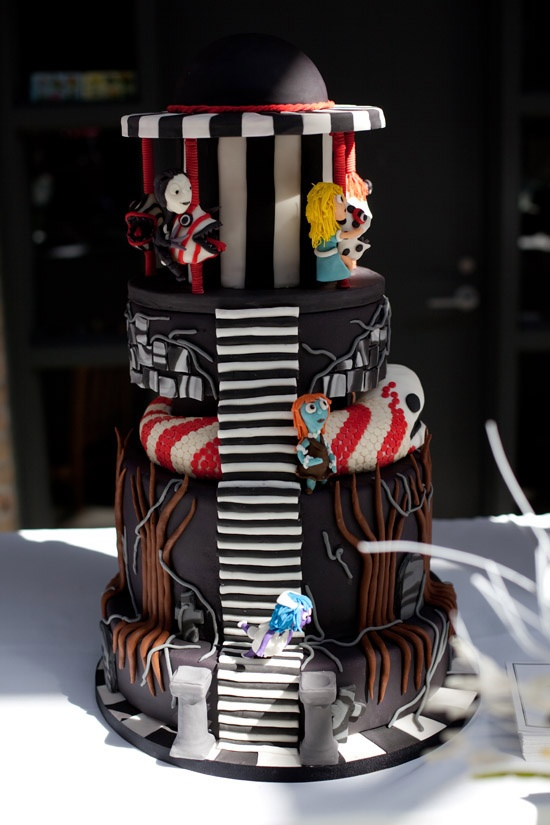 as if pulled from a tim burton movie this halloween styled cake is ideal - Tim Burton Halloween Decorations