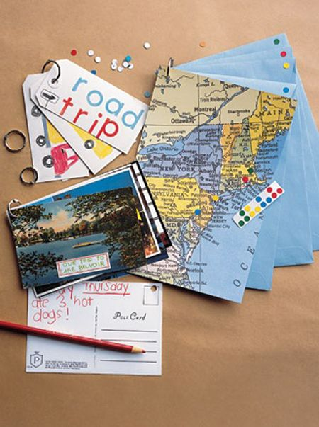 Travel journal: I like this. Glue maps of where you were to envelopes, use small stickers to make where you were, and use the envelope to keep tickets and small paper items from your trip.