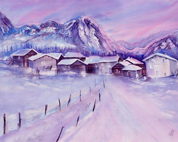 Mountain Village In Snow Poster By Sabina Von Arx Snow Art Winter Scenery Winter Landscape
