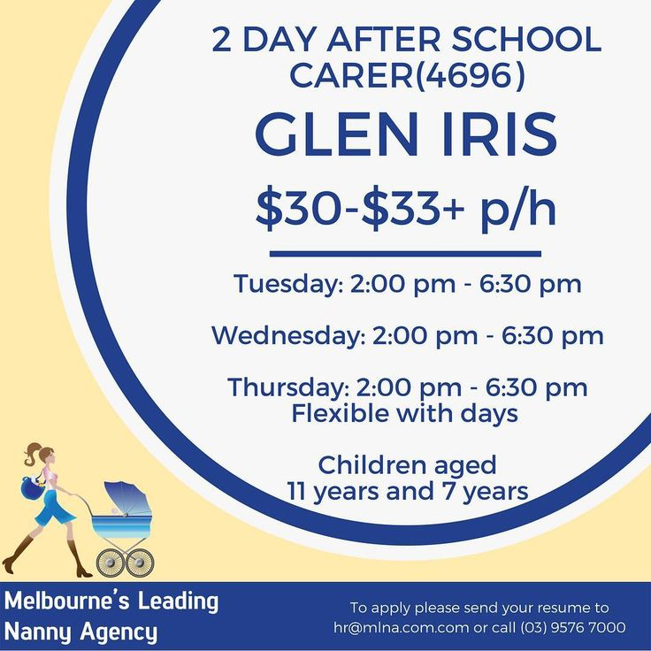 Melbourne's Leading Nanny Agency Published by Gemma Elizabeth Like This Page  1 min   Glen Iris: 2 Days After School Carer (4696) Melbourne's Leading Nanny Agency has an exciting role for an experienced after/before school carer for a role in Glen Iris. (4696)  The role is 2 or 3 days per week with children aged 11 years and 7 years.  This family would like : An experienced After School Carer to pick up both children from school. Your responsibilities may include: Coming to the house to tidy…