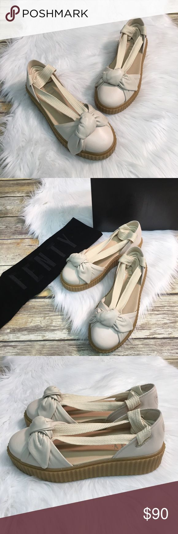 Puma Fenty Bow Lace Up Creeper Sandal Puma Fenty Bow Creeper Sandal in Oatmeal color. Lace up around ankle. Leather shoe with rubber sole. Color is pink tint - oatmeal.   Brand new in box. Also comes with Velvet Fenty dust bag.  Super cute, love these shoes! Puma Shoes Platforms