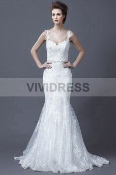 Trumpet/Mermaid Spaghetti Straps Court Train Sleeveless Lace Wedding Dresses with Appliques Style 15427102 http://www.vividress.co.uk/lace-wedding-dresses-style-15427102.html