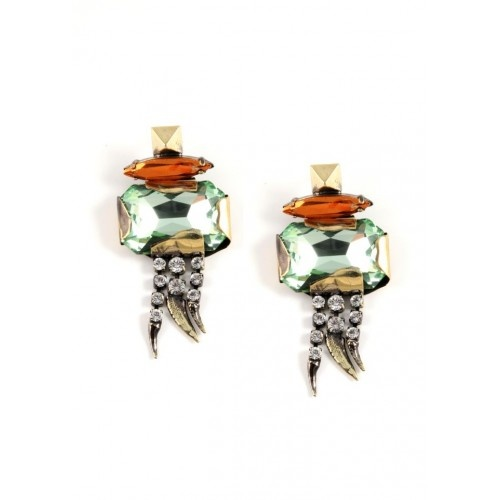 Iosselliani - Big Green Swarovski Brass Earrings