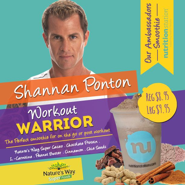 Introducing the 'Workout Warrior Smoothie' now available at Nutrition Station. Featuring Natures Way Cacao & Chia Seeds. Awesome!