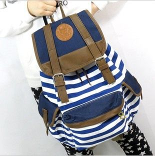 Free shipping  New fashion  stripe women girl lady college students school shoulder backpack cute casual student book campus bag $16.68