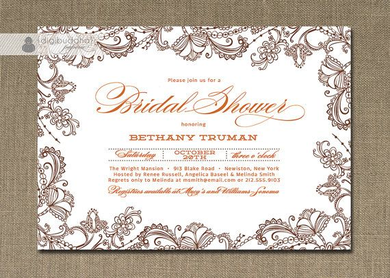 28 best images about orange and brown wedding on pinterest for Designer bridal shower invitations