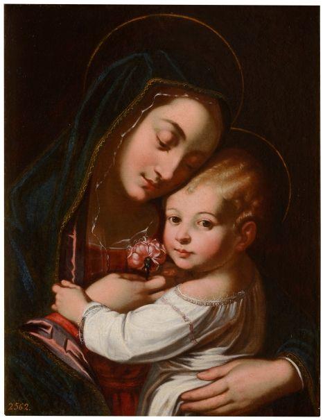 La Virgen con el Niño. Autor.- Desconocido.  Fecha.- Siglo XVI. Técnica.- Óleo sobre lienzo. Lugar donde se encuentra.- Museo del Prado de Madrid.