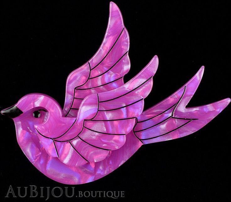 Erstwilder Bird Brooch Pin Fancie Jo Sparrow Pearly Purple