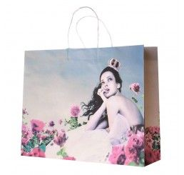 Girl in Rose Garden #Paper #Bags #Spring #Retail #Boutique