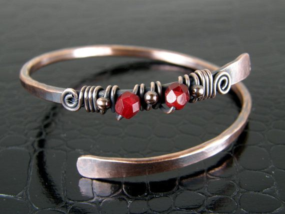Bare Copper Wire Wrapped Bracelet with Red Beads by BonzerBeads