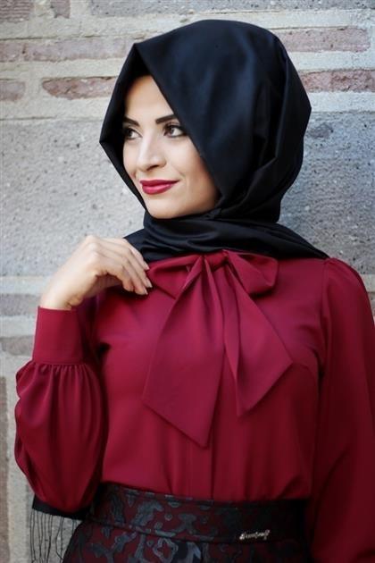 Pınar Şems - Bordo Flarlı Gömlek