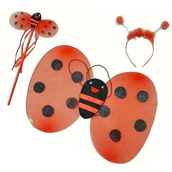 Uğur Böceği Kostüm Seti Kanat Taç Asa