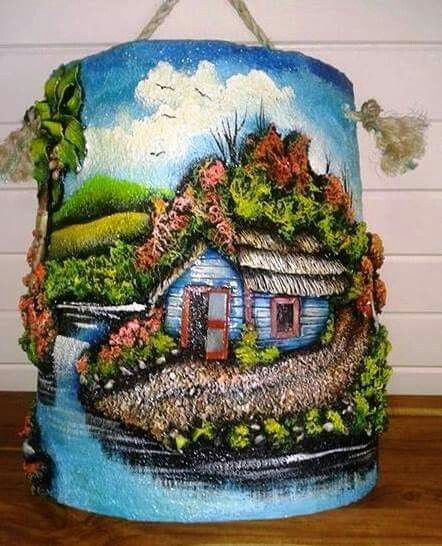 198 best images about casitas y otras figuras en teja on - Decorar tejas en relieve ...