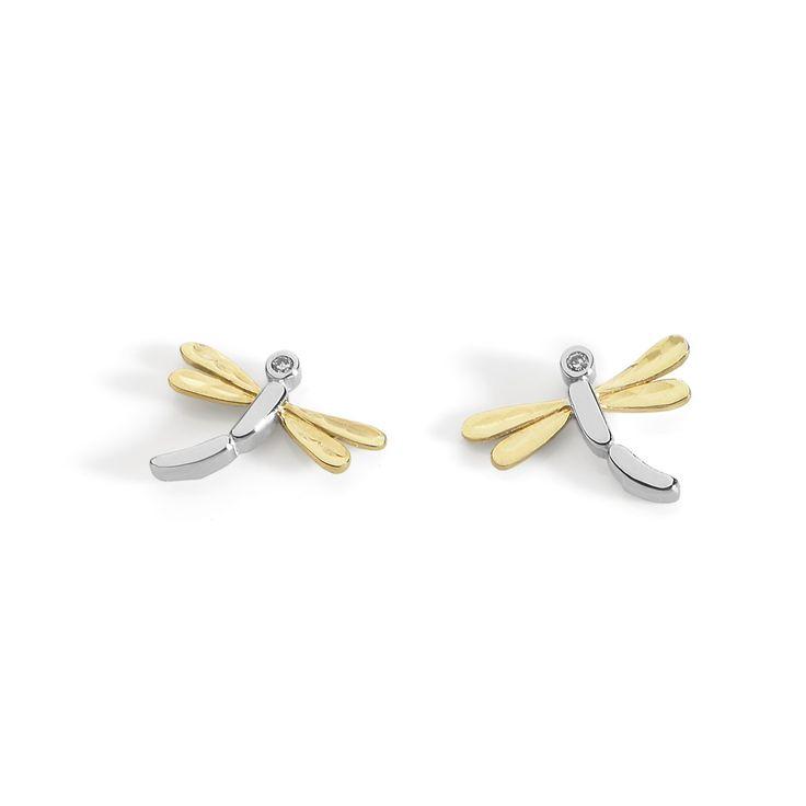 Orecchini libellula in oro bianco, oro giallo e zirconi by Ambrosia gioielli  #animali #libellula #orecchini #ambrosia #gioielli