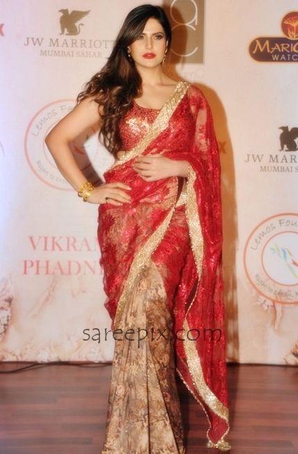 Zareen-khan-lace-saree-Vikram-Phadnis-25th-anniversary-fashion-show