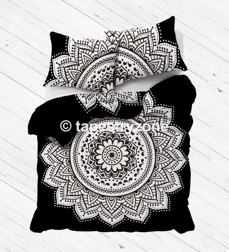 Black and White Ombre Mandala Duvet Doona Cover Comforter Queen Size Quilt Set #Handmade #Traditional #DoonaCoverDuvetCoverQuiltCover