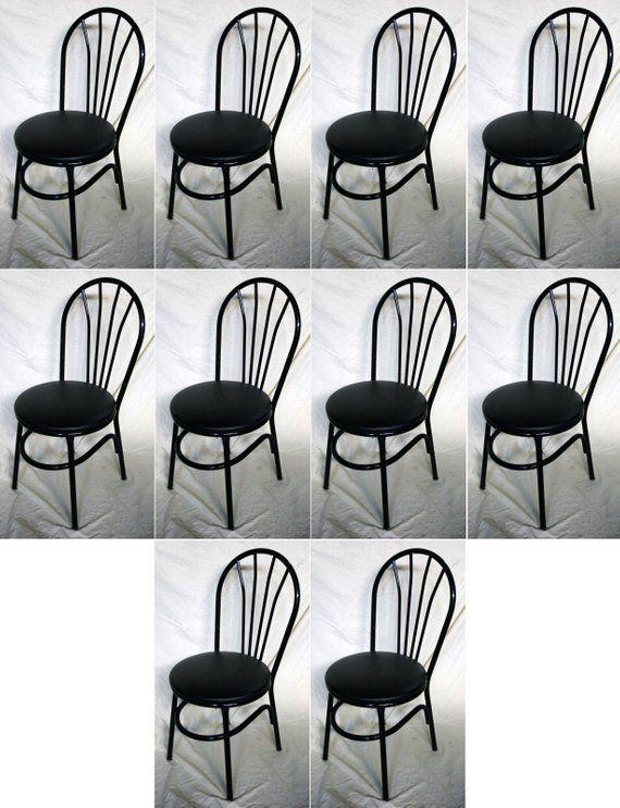 Set 10 Vintage Steel Metal Bistro Cafe Restaurant Dining Side Chairs Vinyl  Seats