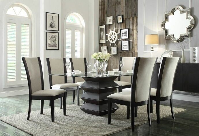 Home Elegance 5021 54bes 7 Pc Havre Espresso Finish Wood Square