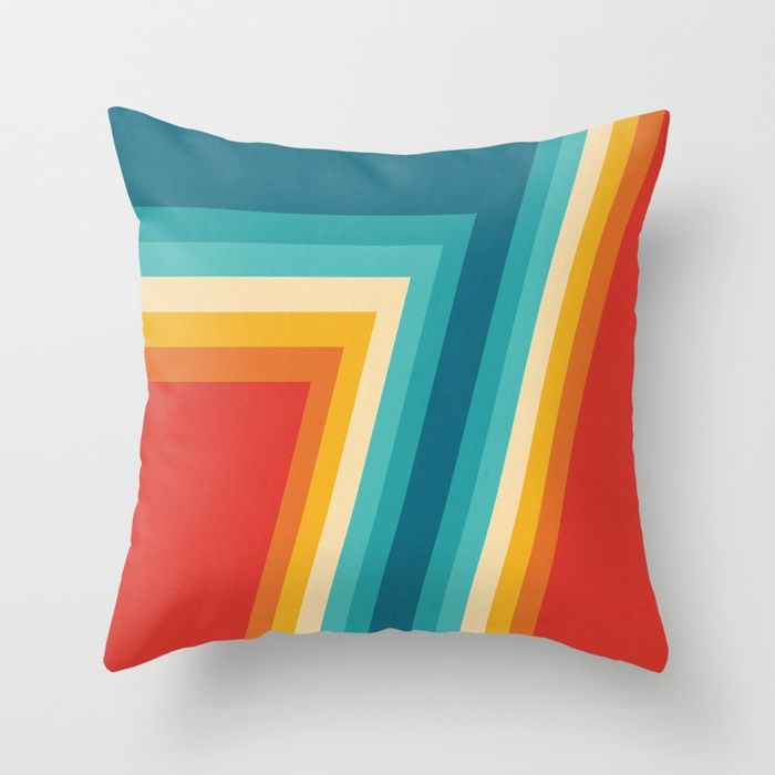 Colorful Retro Stripes  - 70s, 80s Abstract Design Throw Pillow by pelaxy. #s6gtp