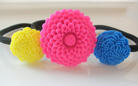 Hot Pink Yellow Blue flower hair band hair by ChicChicChickadee, $12.00