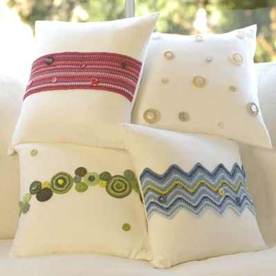 Cute Cream Cotton Cushions With Crochet Details
