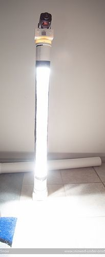 DIY strip light --- pvc, pvc adapters, foil, and a removable flash. nice.