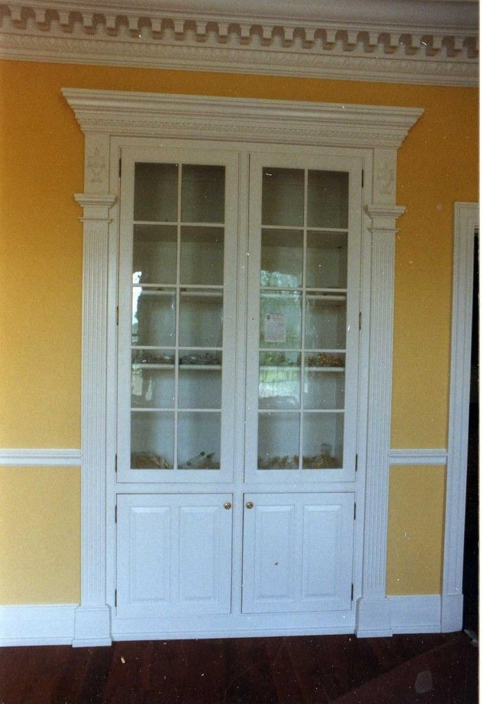 Built in china cabinet two way access from kit and dr for All glass french doors