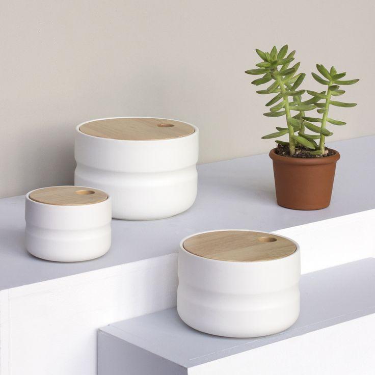 Boîte céramique et couvercle en bois