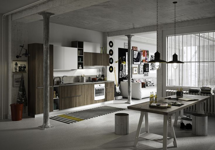 #Kitchen #Feel with doors in Boston brown and soft arctic white oak melamine. Worktop and back panel in Luserna grey laminate. Plinth in titanium-fi nish aluminium. Open units in arctic white melamine and shift grey matt lacquer. 6 cm profi le for open units in boston brown melamine. #cucinecomponibili
