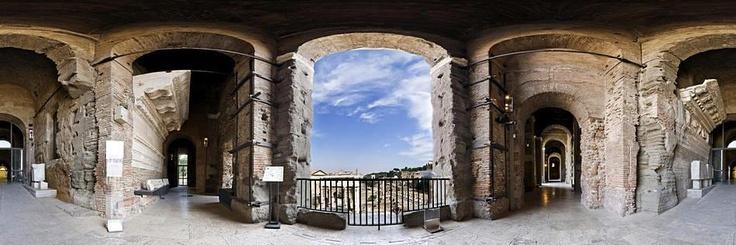 Roma. Il Tabularium e l'affaccio ai Fori Romani in proiezione equirettangolare (360°).  [ Foto © FBC 2013 ]
