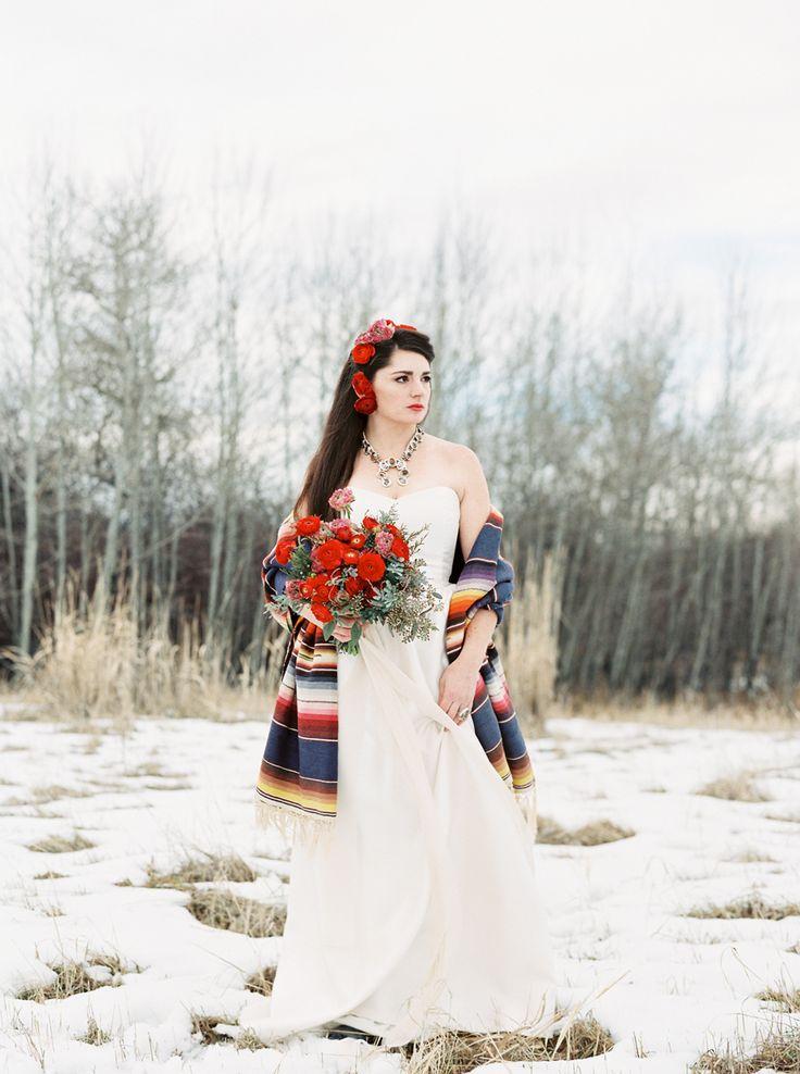 Frida Kahlo Wedding Inspiration / Photography: Orange Photographie / Styling & Flowers: Katalin Green / Hair & Makeup: Alexa Mae / Dress: Coren Moore / Hat & Serape: Vintage / Necklace & Ring: Mountainside Designs / Location: Bozeman, MT