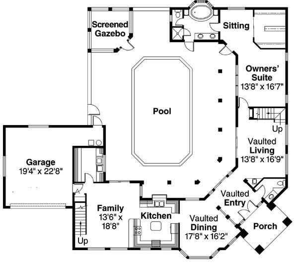 House Plan 035 00108   European Plan: 3,327 Square Feet, 5 Bedrooms, 3.5  Bathrooms. Sitting AreaHome PlansSouthwest ...
