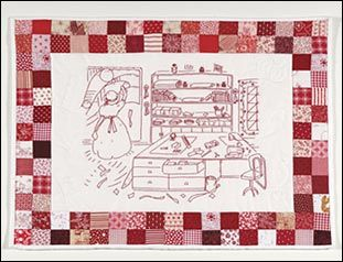 Red work Quilt Studio bordered