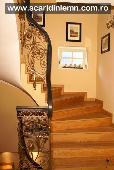 scari interioare lemn masiv, mana curenta de lemn curbat, placare trepte de lemn, preturi scara