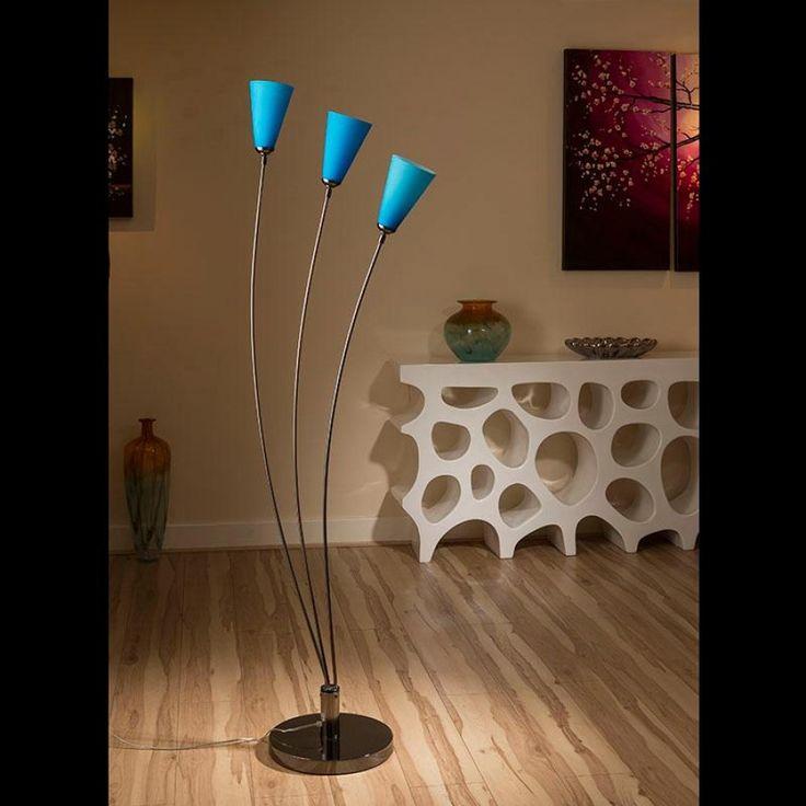 Modern floor standard lamp light lighting blue glass shades fan