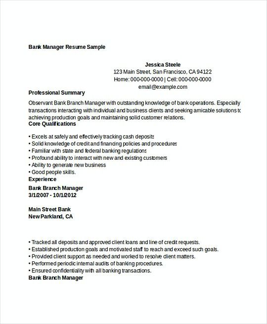 The 25+ best Sample of resume ideas on Pinterest Sample of cover - bank branch manager resume