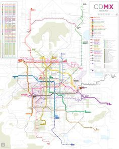 2016 Schematic Map of Mexico City Metro Subway (English). Ciudad de Mexico Metro transport transit map mapa.