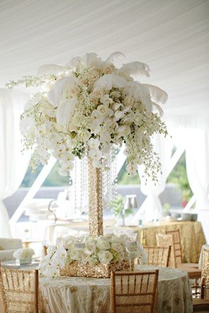 white feathered wedding flowers by Karen Tran // Engage!13: Great Gatsby Wedding Theme // engage13.com at the Biltmore Estate http://www.biltmore.com/                                                                                                                                                      More