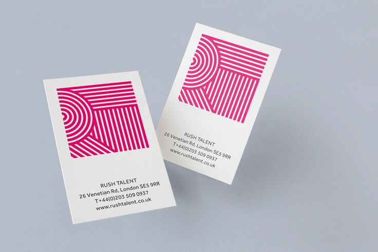 Logo and business cards designed by Bunch for London based public relations company Rush Talent