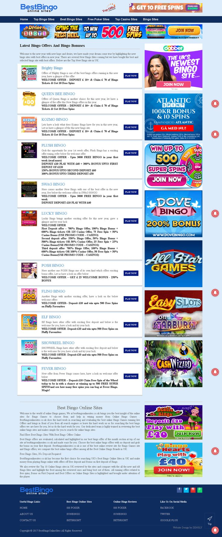 #bestbingoonlinesites #bestonlinebingosites #topbingosites #bestbingogamesonline #newbingooffres Welcome to Best Bingo Online Sites. We've done the hard work for you and gathered every Best online bingo sites we could get our hands on! Our unique comparison site allows you to compare: new bingo sites, free bingo sites at bestbingoonlinesites.co.uk.