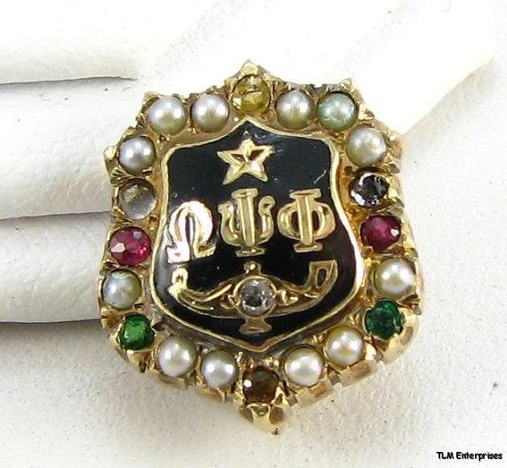 10k Yellow Gold Vintage Omega Psi Phi Pearled Gemstone Fraternity Pin. via Etsy.