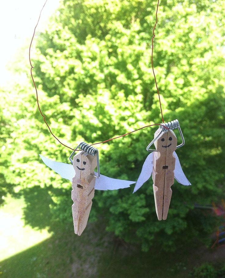 Engel aus Wäscheklammern basteln