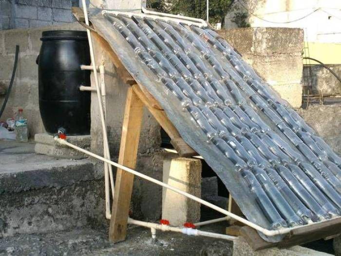 Calentador solar de agua casero con botellas de gaseosa - Calentadores de agua baratos ...