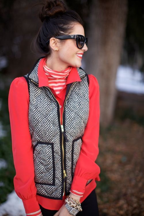 Layers striped turtle neck under blouse herringbone vest