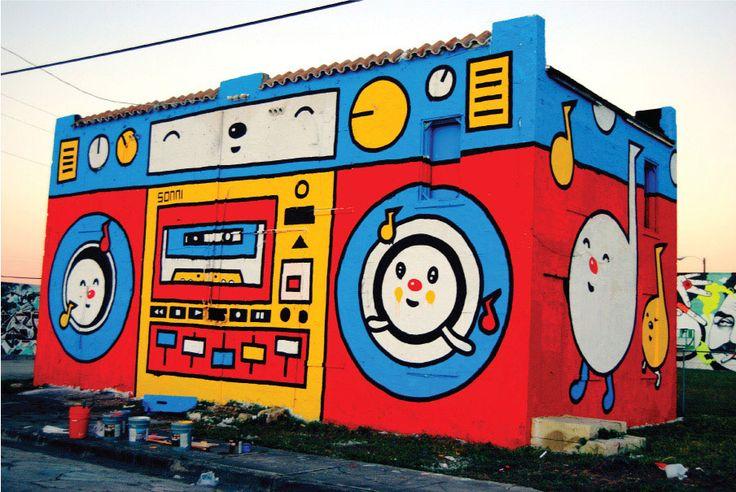 Boombox Mural Art Basel - Primary Flight - Miami FL. EEUU December 2010 : Boombox Murals, Art Sul-Africana, Miami, Boxes, Street Art, Houses Music, Murals Art, Art Urbano, Streetart