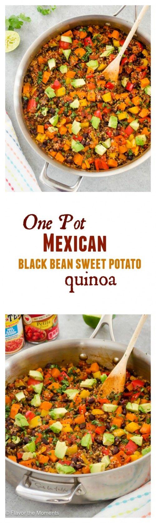 One Pot Mexican Black Bean Sweet Potato Quinoa | flavorthemoments.com